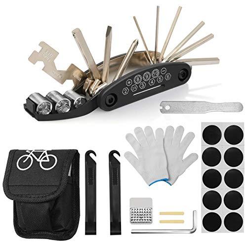 HAUSPROFI Werkzeuge für Fahrrad Reparatur Set 16-in-1 Multifunktionswerkzeug Fahrrad Reparatur Tool Reifenheber Selbstklebendes Fahrradflicken Fahrradflickzeug Reparaturset Reifenflickzeug (16 Unzen Tasche Handschuhe)