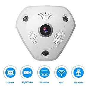 360 VR kamera,Masione 3.0M Panorama Wireless WIFI IP Kamera Audio Video WiFi HD Fish-eye Weitwinkel 10m IR Nachtsicht Bewegungserkennung CCTV Überwachungs-Kameras System bis 128G Gedächtnis