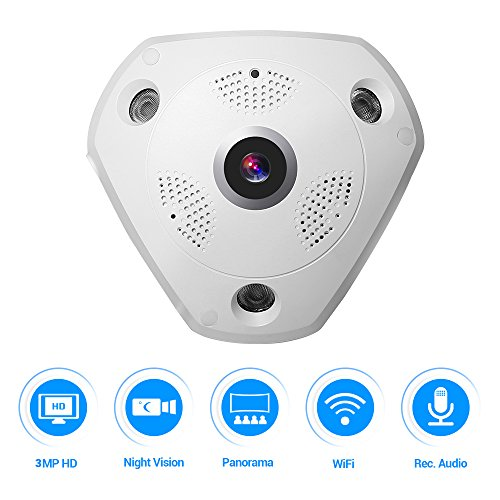 Ir-control-system (360 VR kamera,Masione 3.0M Panorama Wireless WIFI IP Kamera Audio Video WiFi HD Fish-eye Weitwinkel 10m IR Nachtsicht Bewegungserkennung CCTV Überwachungs-Kameras System bis 128G Gedächtnis)