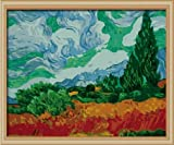 Diy oil painting, paint by number kit- worldwide famous oil painting A Wheatfield, with Cypresses by Van Gogh 16*20 inch.