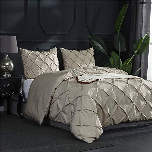 Wiseelife Vintage 3-teiliges Designer-Bettwäsche-Set, gerüscht, Plisseefalten, mit Reißverschluss Modern Queen beige