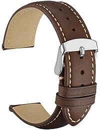 WOCCI 22mm Bracelet de Montre en Cuir Vintage avec Boucle Argentée en Acier Inoxydable (Marron Foncé)