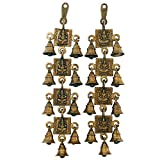 Brass Ganesha And Laxmi Bell Hanging Pai...