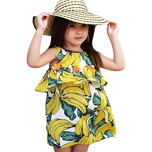 (Amlaiworld sommer Bananen drucken mode Ärmellos kleid Mädchen strand locker oberteile kleider niedlich sport baby quaste dress, 1-6 Jahren (4 Jahren, Gelb))