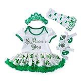 TENDYCOCO 4PCS / Set Traje de tréboles del día de San Patricio, Conjunto de Disfraces con Zapatos de Vestir y Diadema para bebé de 12-24 Meses