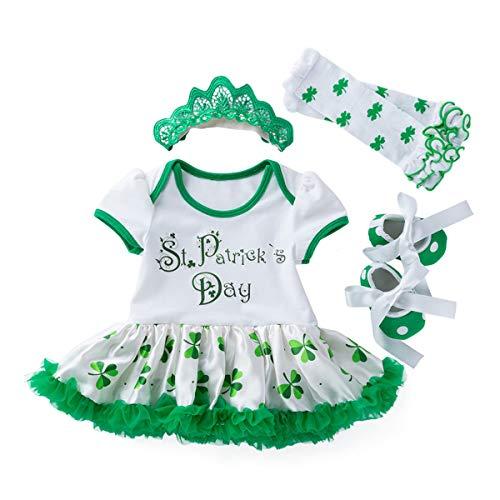 TENDYCOCO 4 Teile/Satz St. Patricks Day Outfit Shamrocks Kostüm Set mit Kleid Stocking Schuhe und Stirnband für 3-6 Monate Baby (St Patrick's Day Kostüm Für Kleinkind)