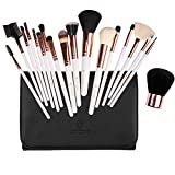 amoore Make Up Pinsel 18 Stück Pinselset Make Up Pinsel Sets Make Up Buersten mit der Make up Pinsel Tasche weiß