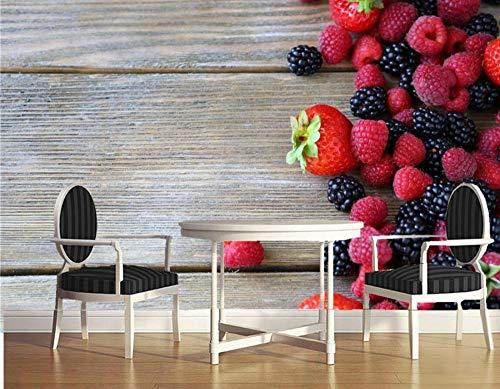 ZCHENG Benutzerdefinierte Wandbilder, Berry Himbeer Blackberry Boards Essen Tapete, Esszimmer Schlafzimmer Fernseher Wand, 430x300 cm (169,3 x 118,1 Zoll)