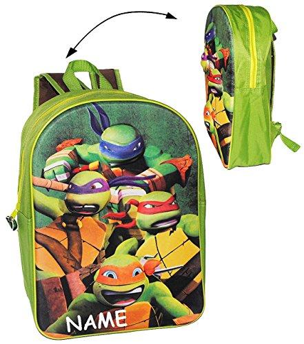 """3-D Effekt ! __ großer Rucksack - """" Teenage Mutant Ninja Turtles """" - incl. Namen - Tasche für Kinder - wasserfest & beschichtet - Kinderrucksack - Hero Turtle / groß - Junge Kind - Schildkröten Aktion"""