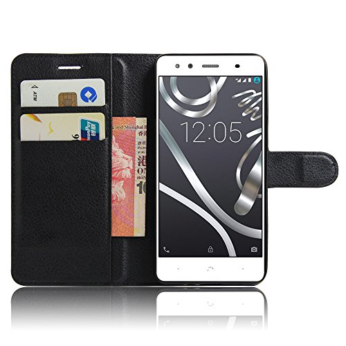 VIFLYKOO BQ Aquaris X5 Plus Funda, BQ Aquaris X5 Plus Carcasa Cuero Flip Cover Cuero PU Case Cartera con Ranuras para Tarjetas Incorporadas Cover para BQ Aquaris X5 Plus Smartphone Case - Negro