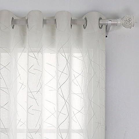 Doconovo Voilage Blanc Oeillet Enfants Voile Aspect Lin Brodée Geometrique Voilage de Fenêtre 140x240cm Beige