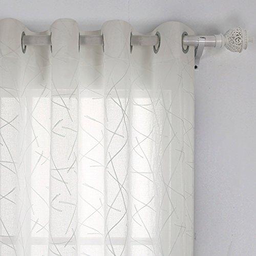 Deconovo Voile Vorhänge mit Ösen Vorhänge Durchsichtig Gardinenschals mit Stickerei 240x140 cm Creme Linie
