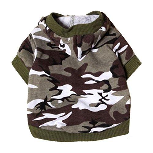 Animali domestici Felpa - TOOGOO(R)Vestiti Del Cane Cappotti Felpa Animale Camuffamento Cappuccio Costume (Army Green , L)