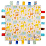 White Baby Tag, Taggy Blanket - Giraffe, Elephant and Chick Animals Tag with Plain Yellow Textured Underside