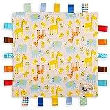 Manta de Etiquetas Para Bebés Blanca - Etiquetas de Animales con Jirafa, Elefante y Polluelo - Parte Inferior con Relieve Amarillo Claro