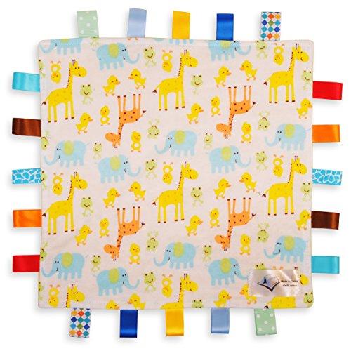 Weiß mit Giraffen, Elefanten und Küken Tag, taggy Decke - in Gelb strukturierten Unterseite (König Tröster Fleece)