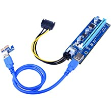 Longruner 6-Pin PCI-E 16x to 1x GPU Riser Adapter 60cm USB 3.0 Riser Cable Flex Flexible Extension Cable & MOLEX to SATA Power Cable,Powered Riser Adapter Card LK81-1