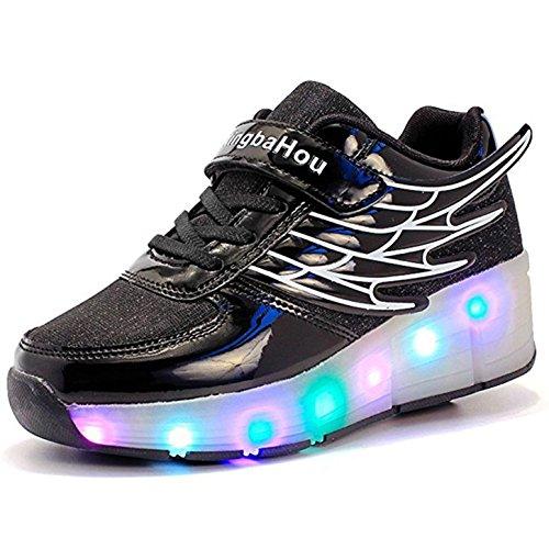 Kinder Schuhe mit Rollen Mesh Skateboardschuhe LED Schuhe Rollschuhe Outdoor Fitnessschuhe Gymnastik Sneaker Turnschuhe Sportschuhe Laufschuhe für Junge Mädchen Schwarz 36