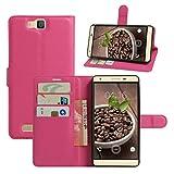HualuBro Cubot H2 Hülle, [All Aro& Schutz] Premium PU Leder Leather Wallet HandyHülle Tasche Schutzhülle Case Flip Cover mit Karten Slot für Cubot H2 5.5 Inch Smartphone (Rose)