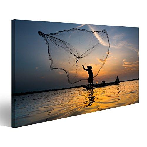 Bild Bilder auf Leinwand Silhouette eines Fischer werfen sein Netz mit Sonnenuntergang. XXL Format ! Direkt vom Hersteller ! Wandbild Leinwandbild Bilder Poster ! DOK (Silhouette Fischer)