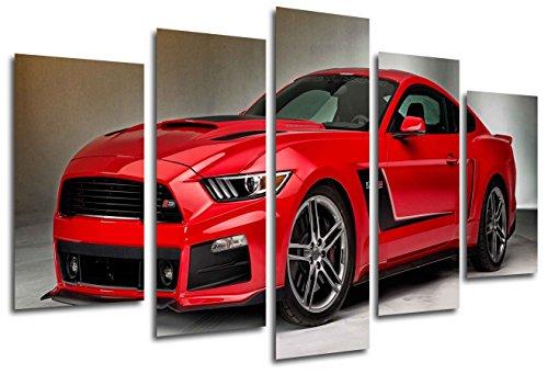 Cuadro Moderno Fotografico Coche Mustang Rojo, 165 x 62 cm Ref. 26331