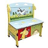 Banc de rangement meuble en bois boîte coffre à jouets jeux enfant mixte W-8266A