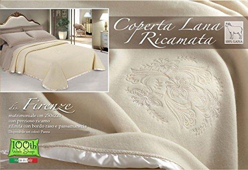 Coperta in 100% lana - ricamata floreale - prodotta in italia panna due piazze 250x220 cm peso invernale jacquard idea regalo - matrimoniale crema
