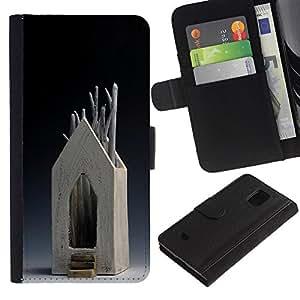 JackGot ( Maison d'Art Moderne Bois arbre symbolique ) Samsung Galaxy S5 Mini (Not S5), SM-G800 Credit Card Slots PU Wallet Pouch Housse de protection Skin Cas Case Coque