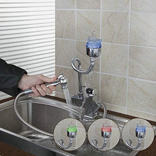KUNHAN Küchenarmatur Ziehen Sie Das Deck Heraus, Um Einlochmontierte Küchenarmatur Aus Verchromtem Keramikspülbecken Mit Mischbatterie Zu Installieren