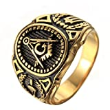 OAKKY Massonica massone in acciaio inox anello dell'annata Simbolo membro fascia dell'oro