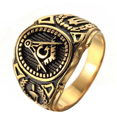 OAKKY Herren Edelstahl Weinlese Freimaurerischen Freimaurer Ring Symbol Mitglied Gold Band Größe 60 (19.1) (Herren Schwarz Titan Freimaurer-ring)