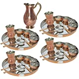 "Prisha India Craft ® Set Of 4 Dinnerware Traditional Stainless Steel Copper Dinner Set Of Thali Plate, Bowls, Glass And Spoons, Dia 13"" With 1 Pure Copper Mughal Pitcher Jug - Diwali Gift"