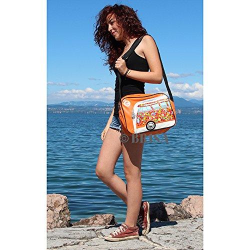 Vw Collection By Brisa Borsa A Spalla Tracolla Con Vw Bulli T1 Motiv - Cerchi Neri / Rossi Arancio
