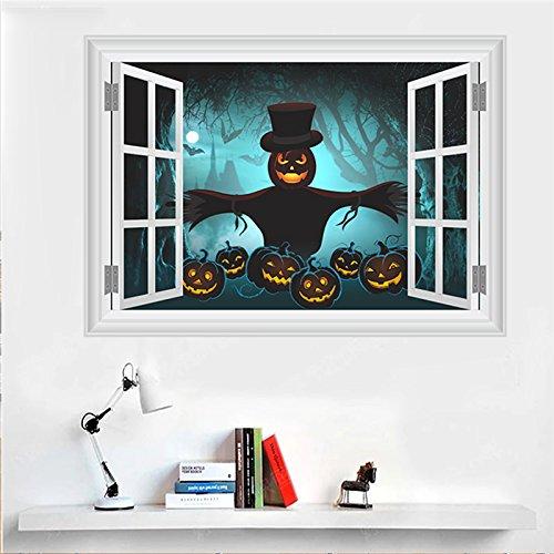 e Vogelscheuche Wall Sticker 3D Fenster Halloween Dekoration Home Aufkleber Festival Wandmalerei Kunst Poster Kinder Geschenk 50 Cm X 70 Cm (Wohnheim Tür Dekoration Halloween)