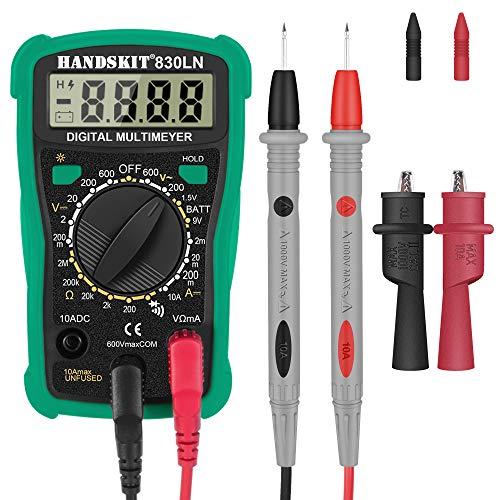 Digital Multimeter, HANDSKIT Automatisch Multimeter Messgeräte Tragbare Prüfvorrichtung für Zuhause mit LCD-Anzeige, Spannungsmesser, Stromprüfer, Widerstand, Durchgangsprüfung, Hintergrundbeleuchtung