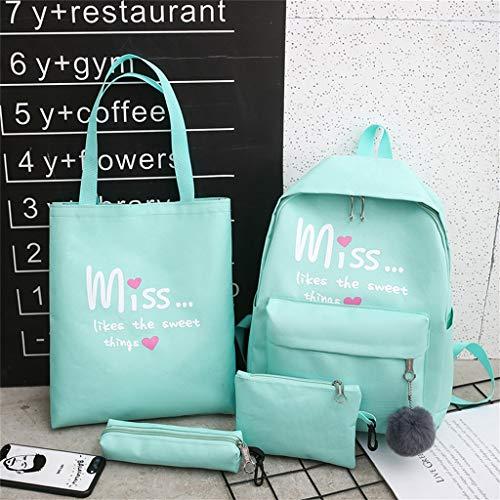 Bearbelly Schülerrucksack, 4 Stück Alphabet Muster Reine Farbe Leinwand Multifunktionale Rucksäcke Schultasche Große Kapazität Laptoptasche Handtasche Umhängetasche Federmäppchen Taschensätze (Marvel-leinwand-tasche)