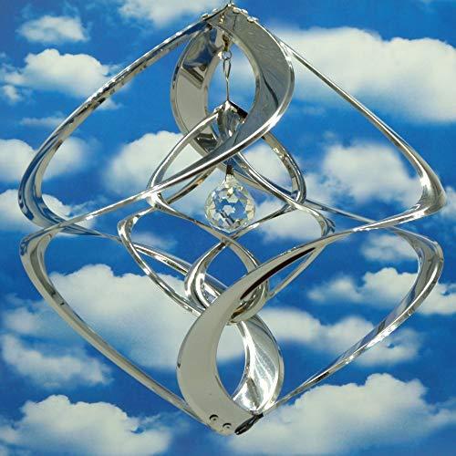 Pommerntraum | Edelstahlwindspiel MIT KRISTALL - ROSTFREI | Windspiel Edelstahl | Winddancer | Double-Twister | Gartenstecker | Garten Kunst | 30 cm