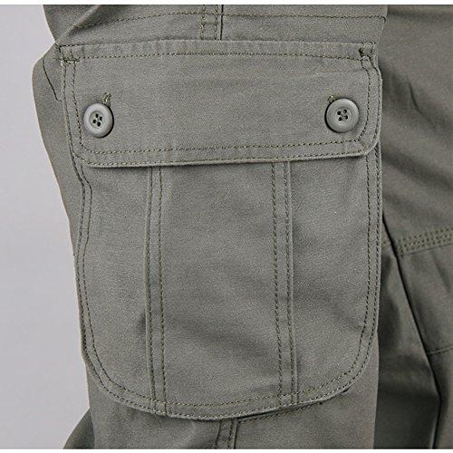 Cargohose Herren Arbeitshose Stretch cargo pants loose casual mit Mehrere Tasche Sport,Arbeit,Freizeit Armee-grün