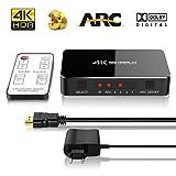 HDMI Swich 4K 5.1 Dolby Surround System - ONEDAY Audio Optical TOSLINK Out 60HZ | 3D Ultra HD 2160p 4K x 2K | 4 in 1 out ARC Télécommande IR pour Macbook HDTV Laptop TV Stick DVD PS4 etc [ Noir ]