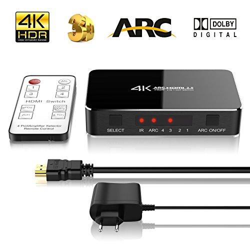 4K HDMI Switch, ONEDAY 4 Port mit IR Fernbedienung | Ultra HD 4Kx2K HDMI umschalter | 3D 1080p | Audio Optisch TOSLINK Out Bis zu 5.1 Dolby Surround System | 5V AC Netzteil | Auflösung: bis 4K 60HZ