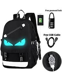 Anime Luminous Backpack Noctilucent School Bags Daypack USB Chargeing Port Laptop Bag Handbag For Boys Girls Men...