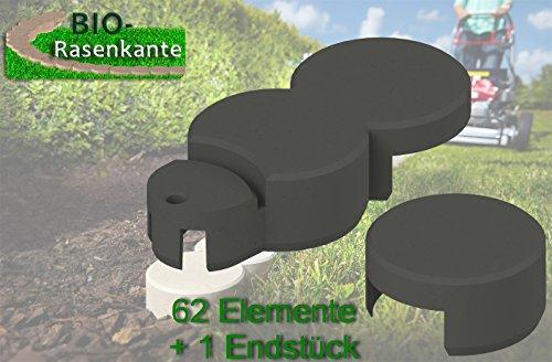 Beeteinfassung Bio-Rasenkante anthrazit. ca. 10 Meter. 62 Elemente plus 1 Endstück