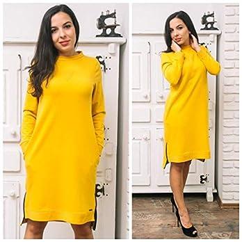Winter Gelbes Damen Kleid mit Schlitzen und Reißverschluss Elementen