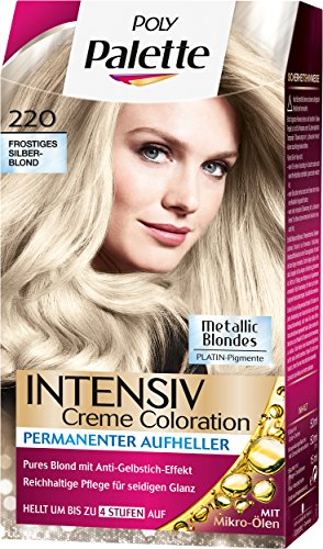 Haare Metallic Färben (Palette Intensiv Creme Coloration 220 Frostiges Silberblond Stufe 3, 3er Pack (3 x 115)