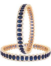 Ratnavali Jewels Beautiful CZ/AD American Diamond Studded Gold Plated Traditional Blue Sapphire White Bangles...