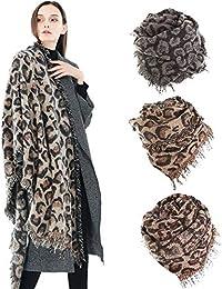 Femmes hiver épais léopard gland cachemire doux long foulard châle  enveloppe Grand Tartan Echarpe Châle Mode bc0eab75949