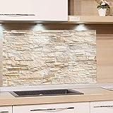 GRAZDesign Küchen-Spritzschutz Glas   Bild-Motiv Steinmauer hell Steinoptik   Glasbild als Küchenrückwand - Küchenspiegel / 80x50cm