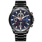 Dilwe Männer Uhr Herren Uhr, Männer Quarzwerk Legierung Band analoge Armbanduhr Uhr(Schwarz+Blau)