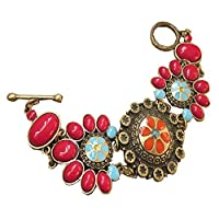 Yodensity Women Vintage Bracelet Bohemian Style Cuff Bangle Colorful Charm Jewelry Gift