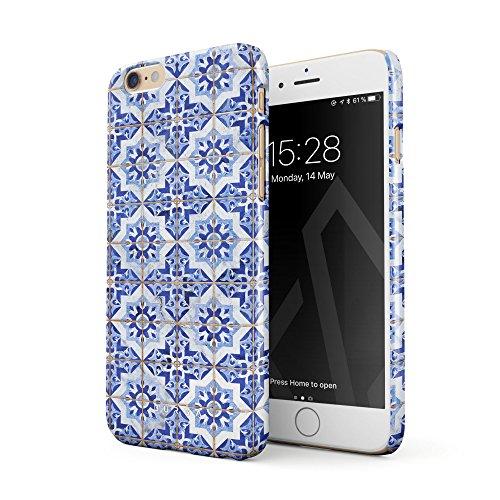 BURGA Hülle Kompatibel mit iPhone 6 Plus / 6s Plus Handy Huelle Weiß Blau Mit Gold Marokkanisch Fliesen Muster Mosaik Marmor Mode Dünn, Robuste Rückschale aus Kunststoff Handyhülle Schutz Case Cover